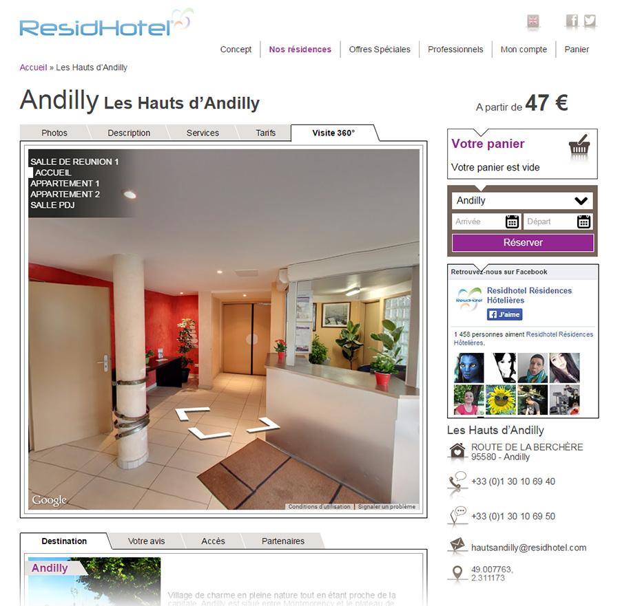 Visite virtuelle Google sur le site de ResidHotel